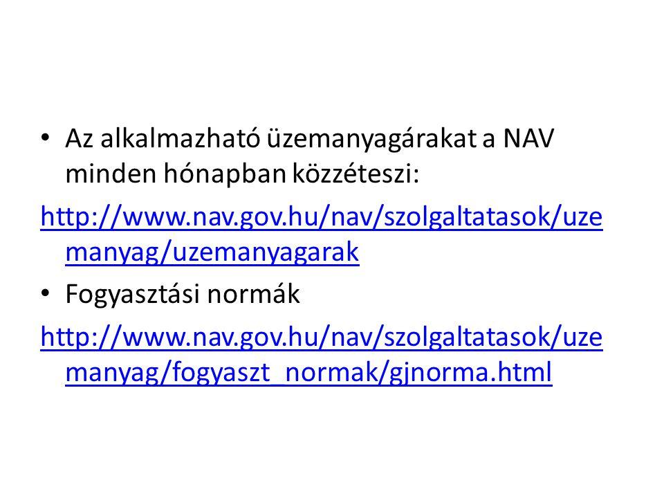 Az alkalmazható üzemanyagárakat a NAV minden hónapban közzéteszi: