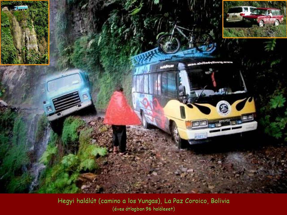 Hegyi halálút (camino a los Yungas), La Paz Coroico, Bolivia (éves átlagban 96 haláleset)