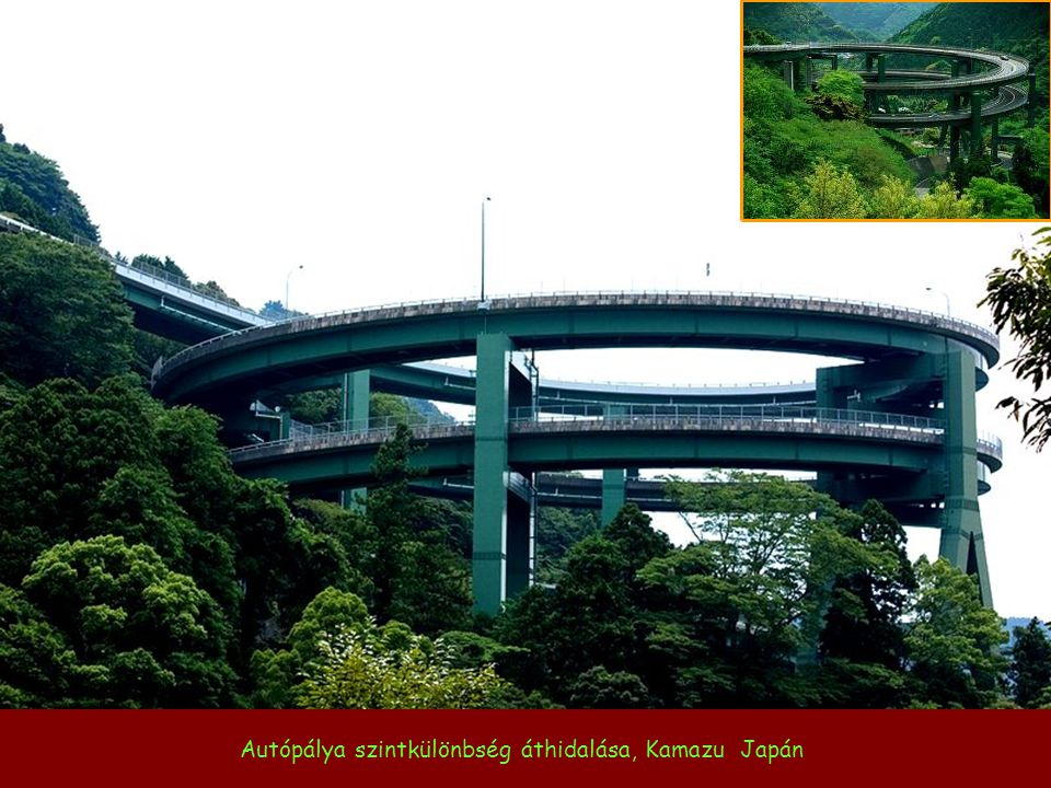 Autópálya szintkülönbség áthidalása, Kamazu Japán