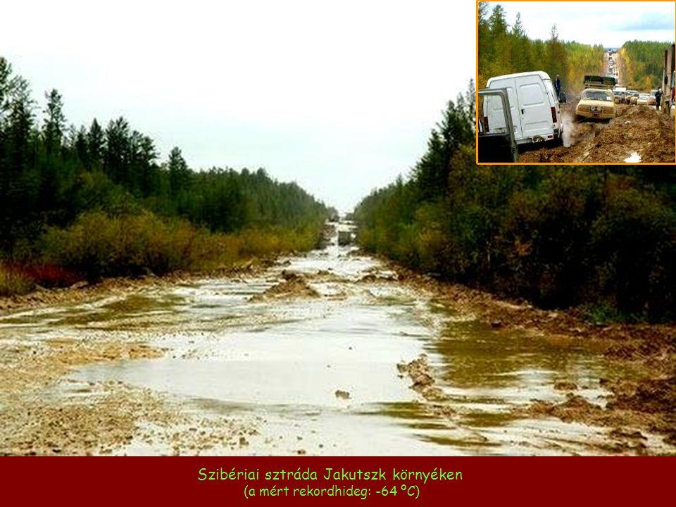 Szibériai sztráda Jakutszk környéken (a mért rekordhideg: -64 ºC)