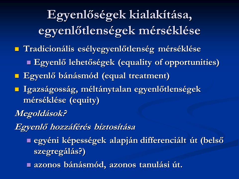Egyenlőségek kialakítása, egyenlőtlenségek mérséklése