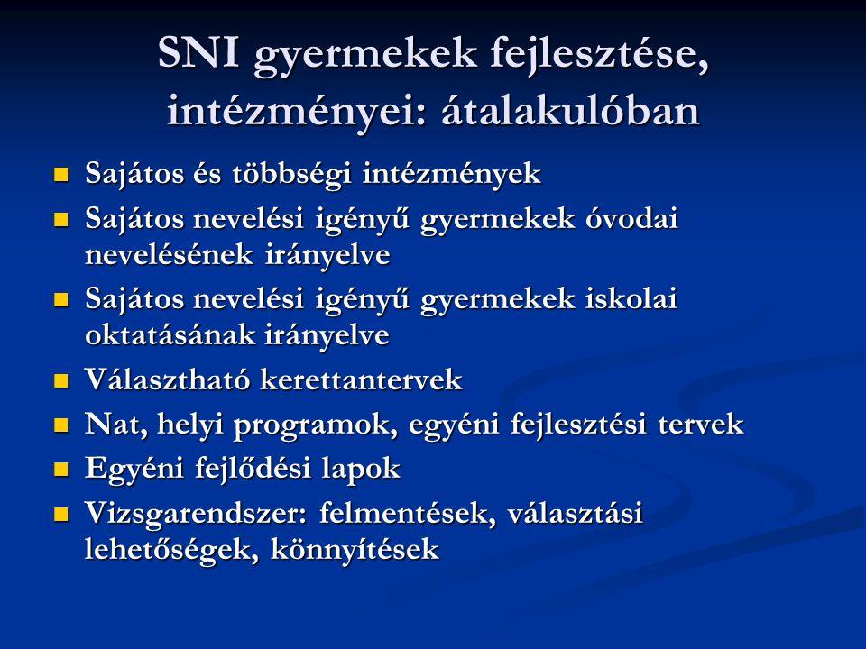 SNI gyermekek fejlesztése, intézményei: átalakulóban