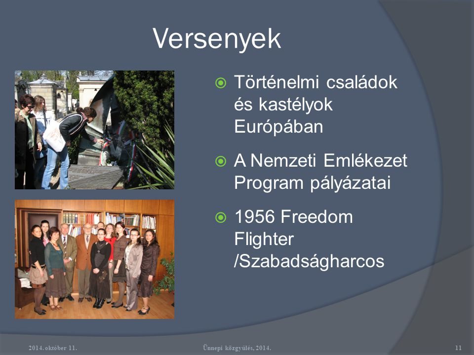 Versenyek Történelmi családok és kastélyok Európában