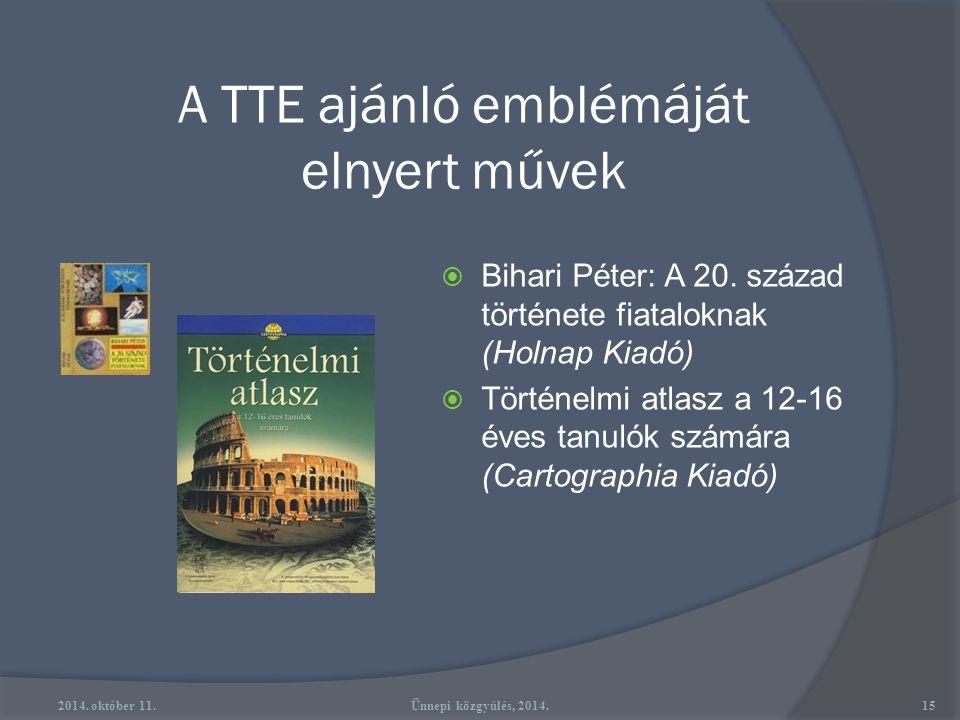 A TTE ajánló emblémáját elnyert művek