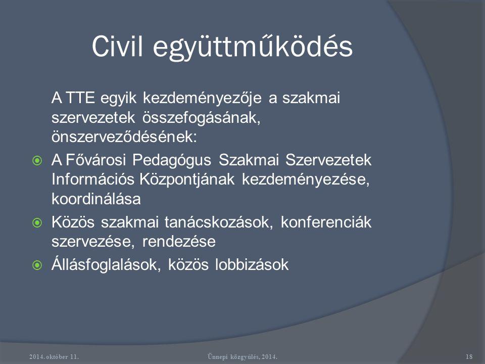 Civil együttműködés A TTE egyik kezdeményezője a szakmai szervezetek összefogásának, önszerveződésének: