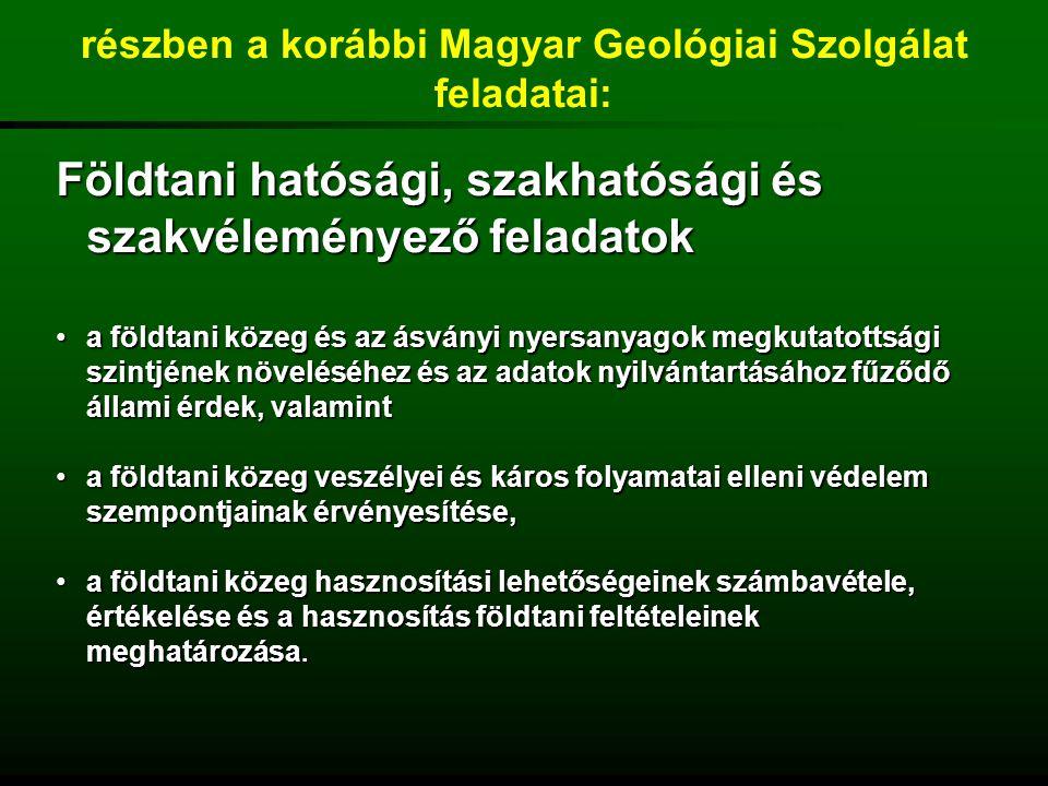 részben a korábbi Magyar Geológiai Szolgálat feladatai: