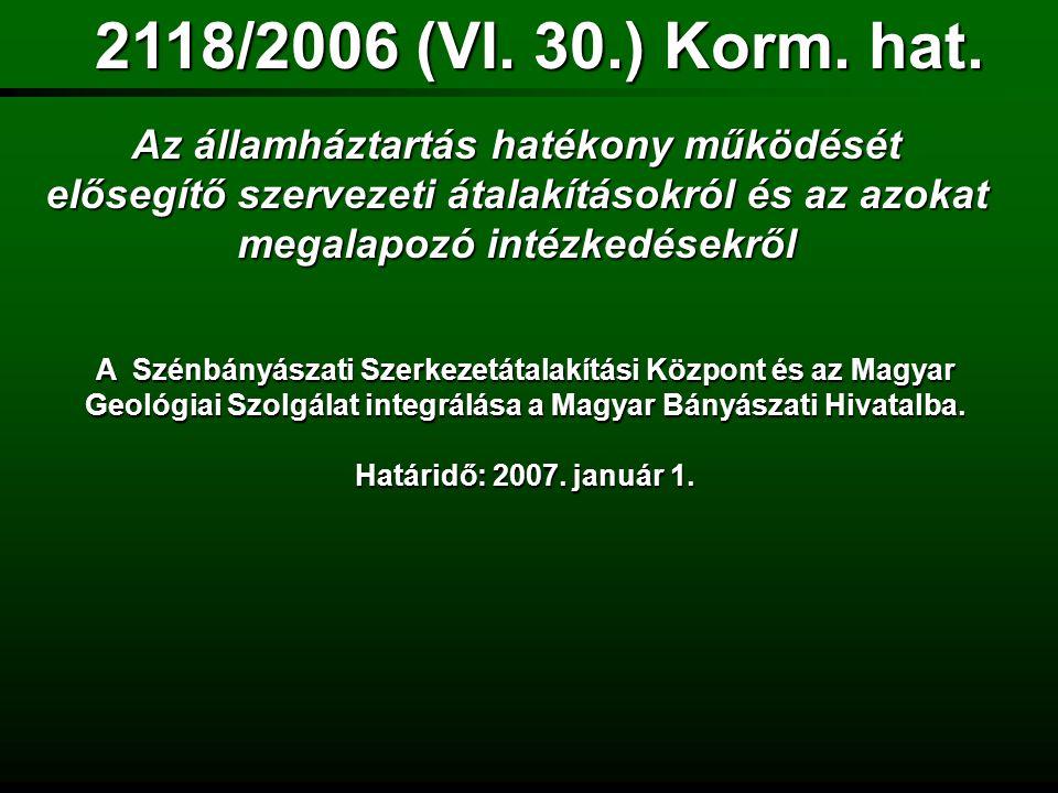 2118/2006 (VI. 30.) Korm. hat. Az államháztartás hatékony működését elősegítő szervezeti átalakításokról és az azokat megalapozó intézkedésekről.
