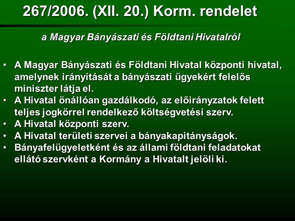 267/2006. (XII. 20.) Korm. rendelet a Magyar Bányászati és Földtani Hivatalról.
