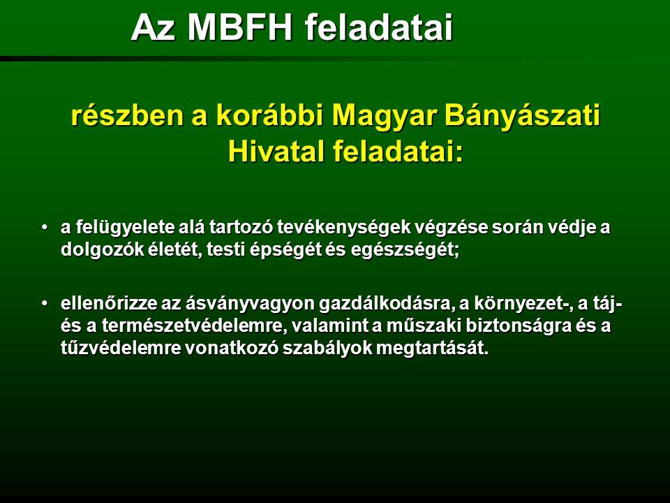 részben a korábbi Magyar Bányászati Hivatal feladatai:
