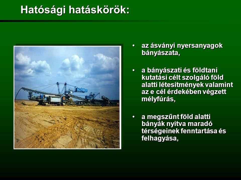 Hatósági hatáskörök: az ásványi nyersanyagok bányászata,
