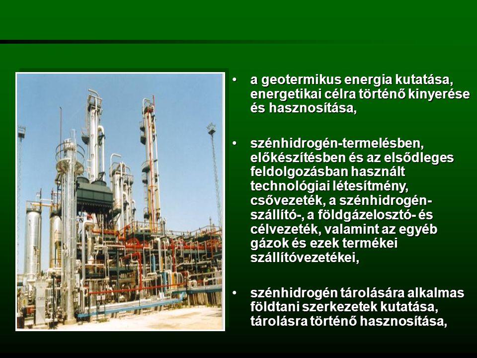 a geotermikus energia kutatása, energetikai célra történő kinyerése és hasznosítása,