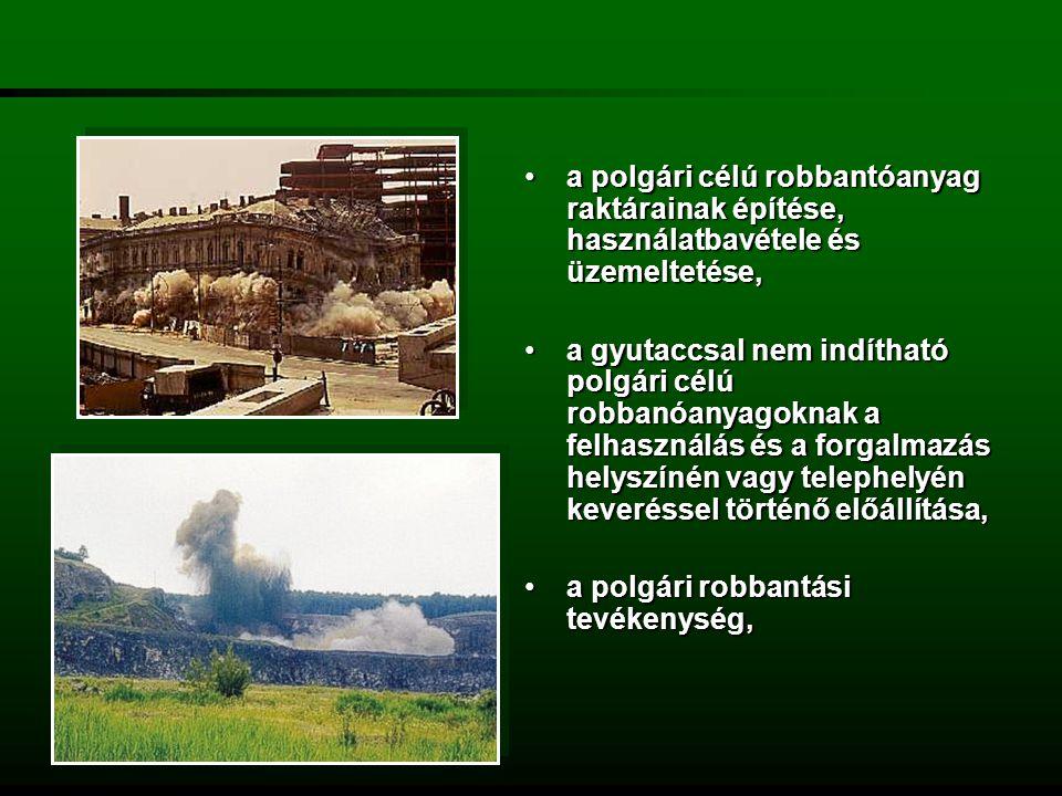 a polgári célú robbantóanyag raktárainak építése, használatbavétele és üzemeltetése,