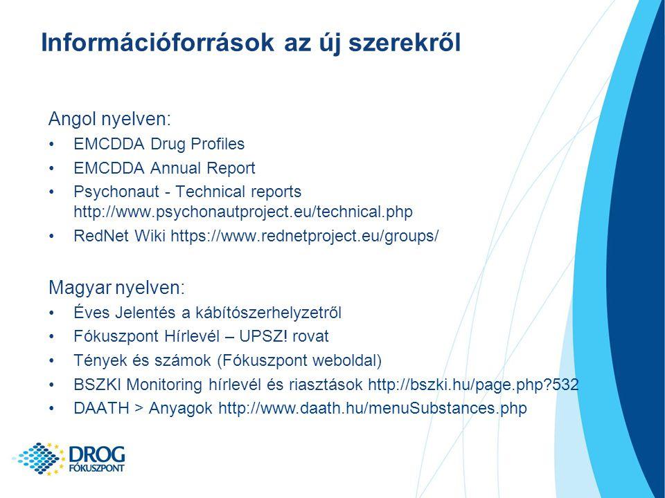 Információforrások az új szerekről