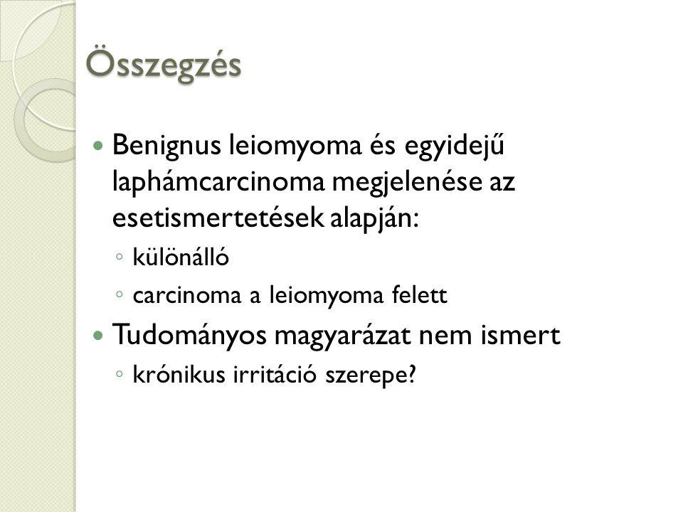 Összegzés Benignus leiomyoma és egyidejű laphámcarcinoma megjelenése az esetismertetések alapján: