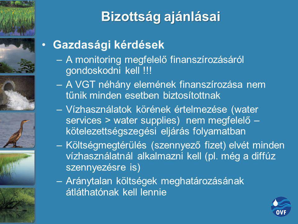 Bizottság ajánlásai Gazdasági kérdések