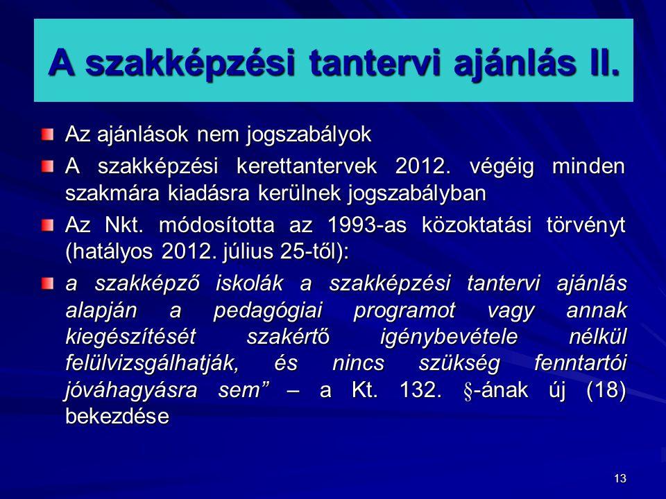 A szakképzési tantervi ajánlás II.