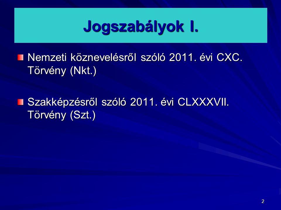 Jogszabályok I. Nemzeti köznevelésről szóló 2011.