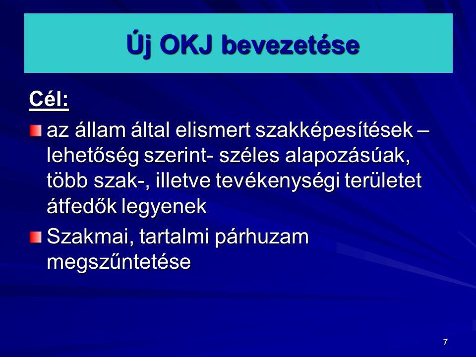 Új OKJ bevezetése Cél: