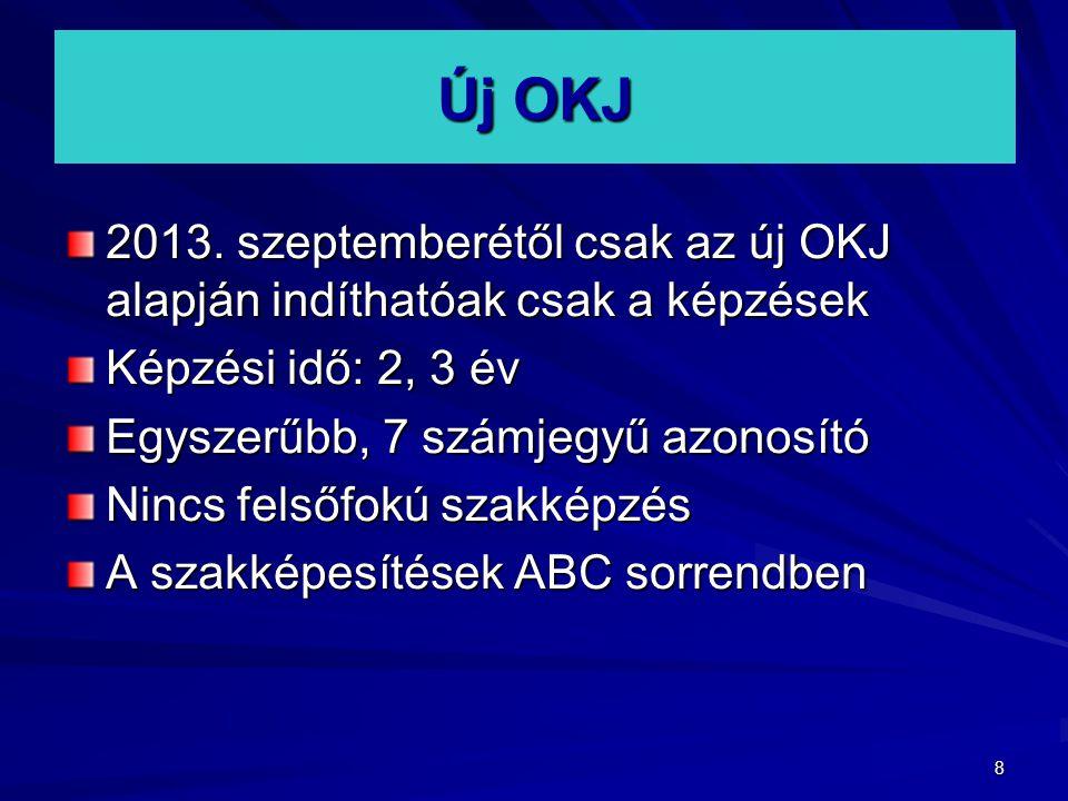 Új OKJ 2013. szeptemberétől csak az új OKJ alapján indíthatóak csak a képzések. Képzési idő: 2, 3 év.