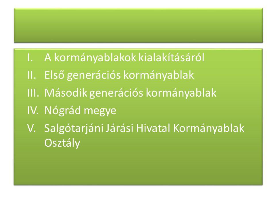 I. A kormányablakok kialakításáról II. Első generációs kormányablak III.