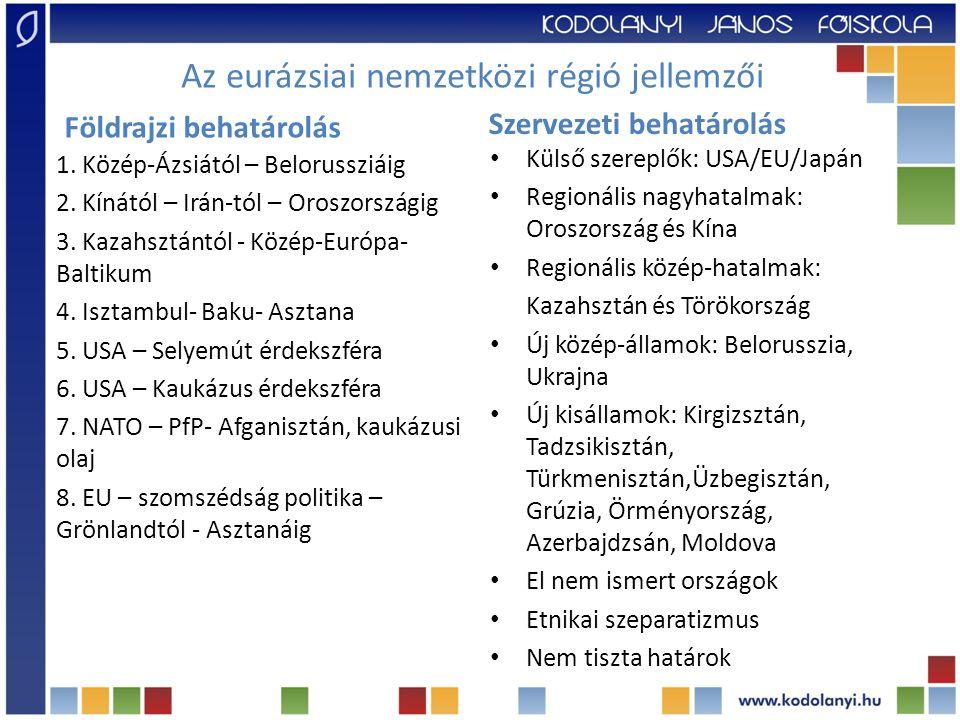 Az eurázsiai nemzetközi régió jellemzői