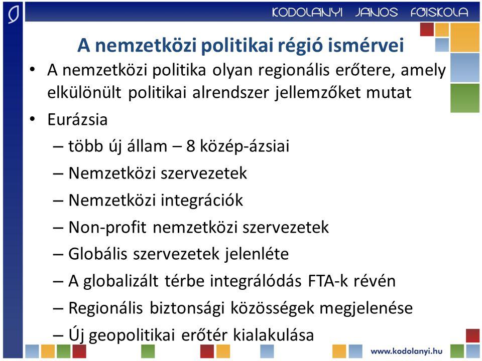 A nemzetközi politikai régió ismérvei