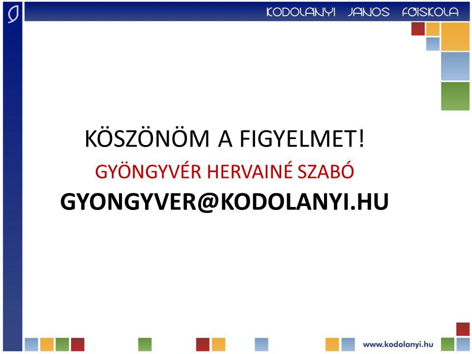 Köszönöm a figyelmet! Gyöngyvér Hervainé Szabó gyongyver@kodolanyi.hu