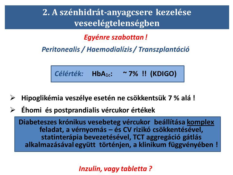 2. A szénhidrát-anyagcsere kezelése veseelégtelenségben