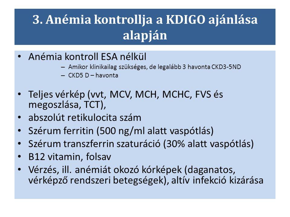 3. Anémia kontrollja a KDIGO ajánlása alapján