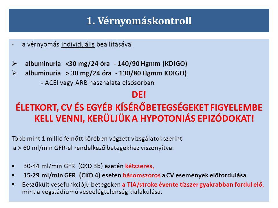 1. Vérnyomáskontroll a vérnyomás individuális beállításával. albuminuria <30 mg/24 óra - 140/90 Hgmm (KDIGO)