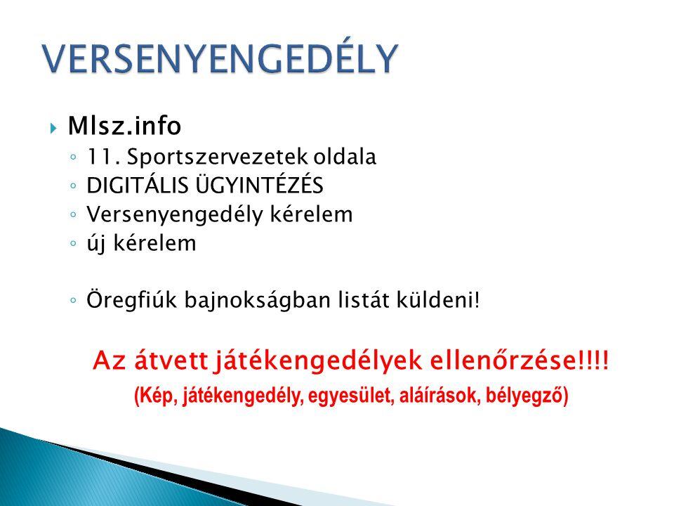 VERSENYENGEDÉLY Az átvett játékengedélyek ellenőrzése!!!! Mlsz.info