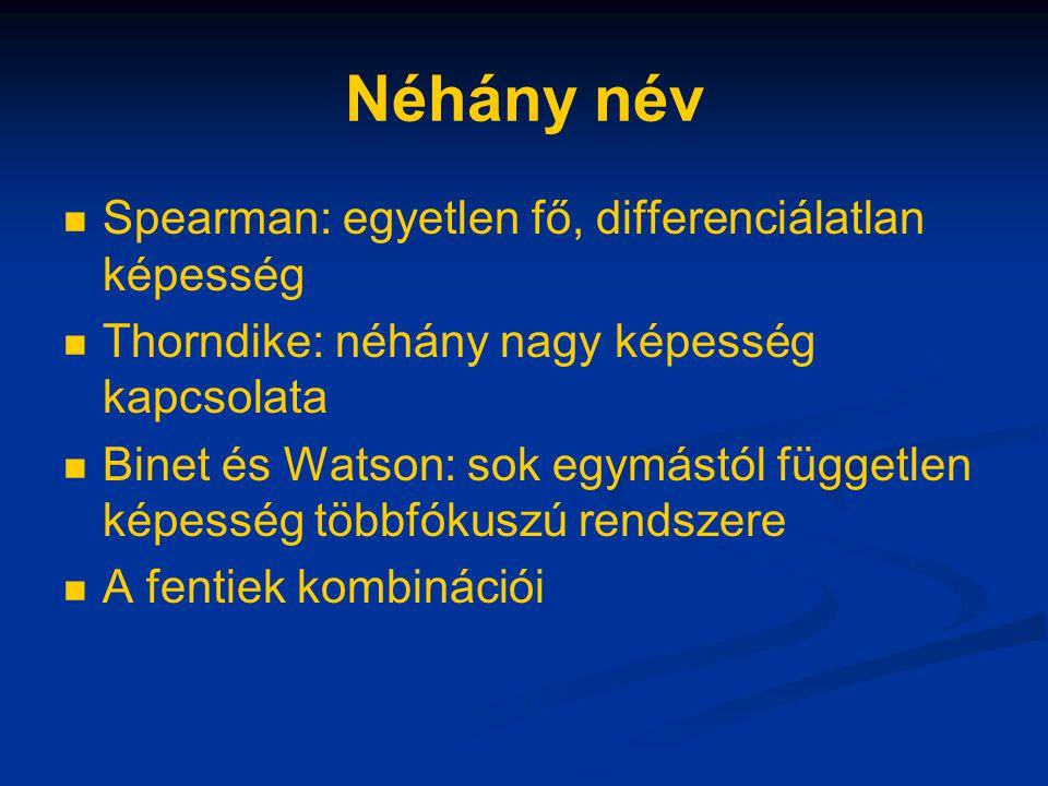 Néhány név Spearman: egyetlen fő, differenciálatlan képesség