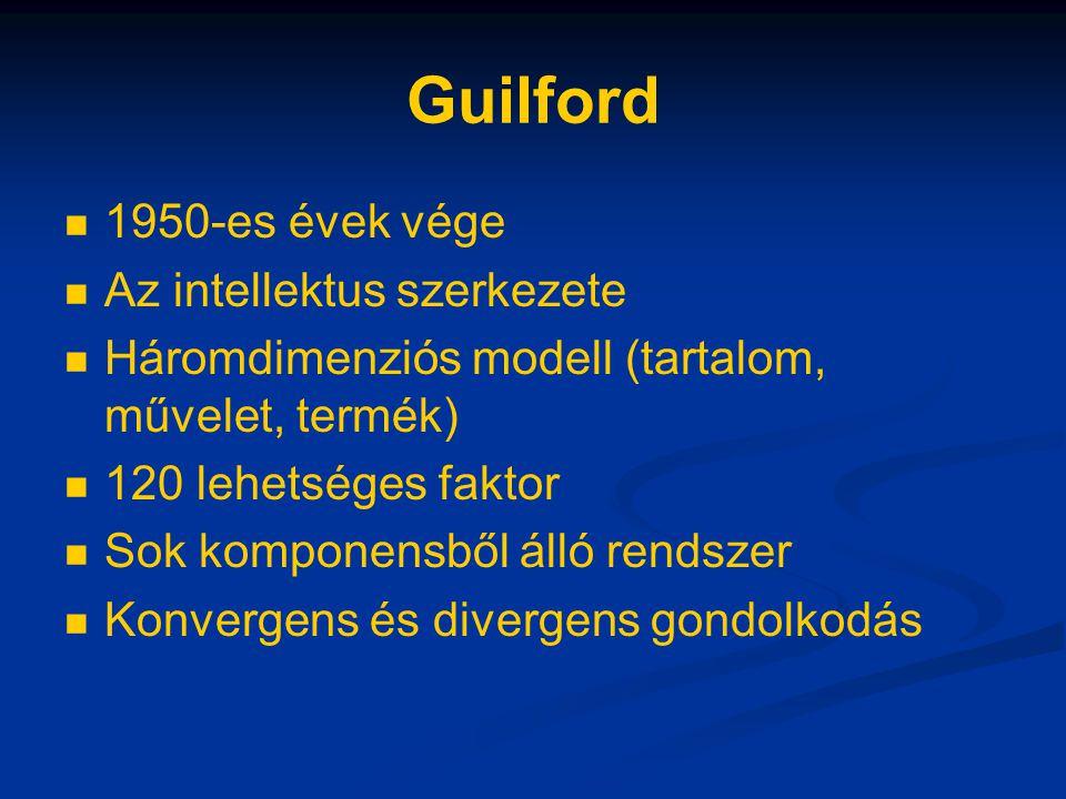Guilford 1950-es évek vége Az intellektus szerkezete