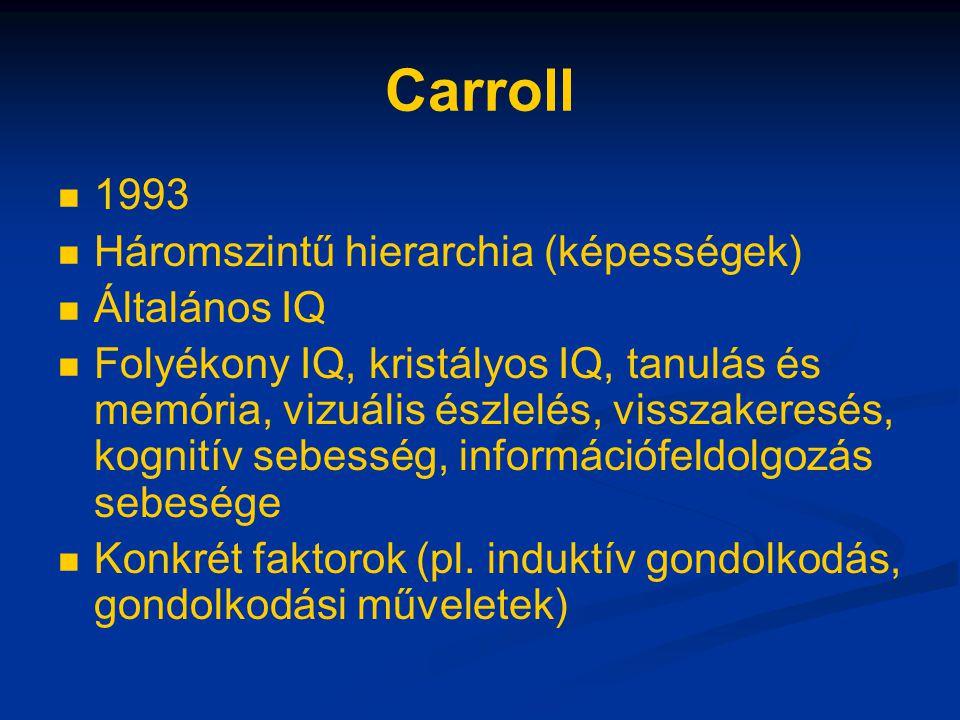 Carroll 1993 Háromszintű hierarchia (képességek) Általános IQ