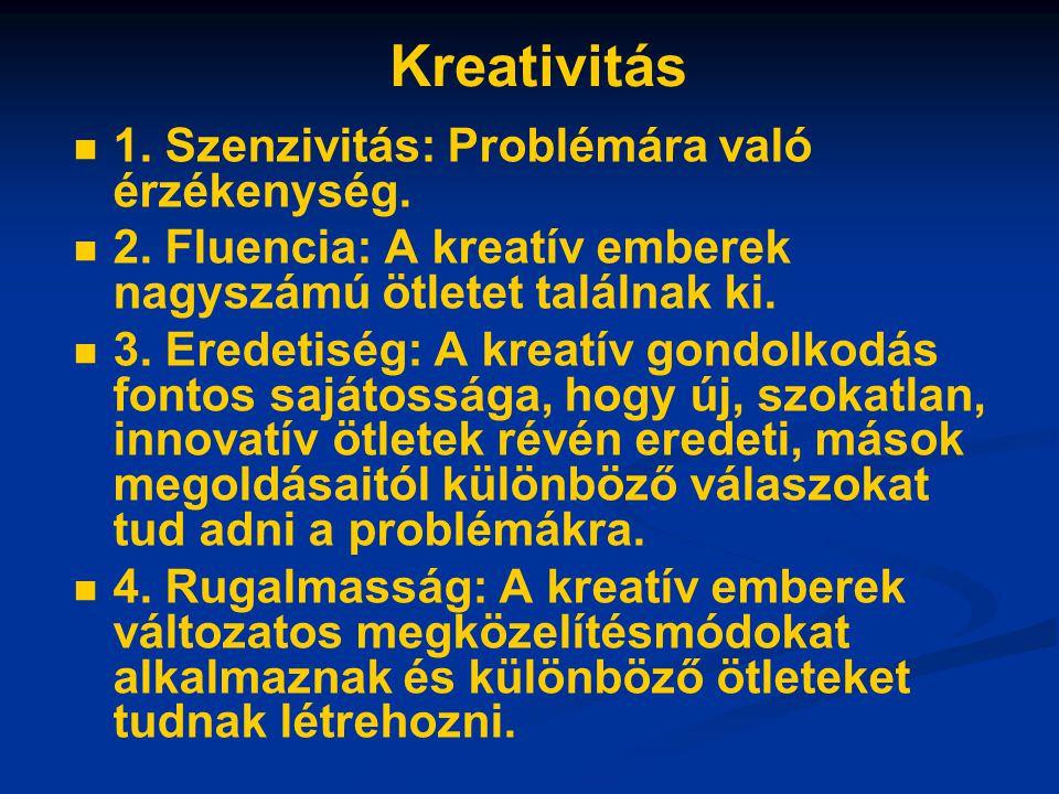 Kreativitás 1. Szenzivitás: Problémára való érzékenység.
