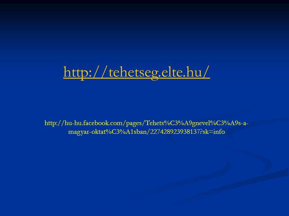http://tehetseg.elte.hu/ http://hu-hu.facebook.com/pages/Tehets%C3%A9gnevel%C3%A9s-a-magyar-oktat%C3%A1sban/227428923938137 sk=info.