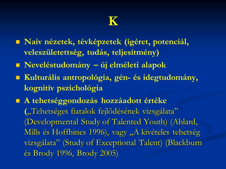 K Naiv nézetek, tévképzetek (ígéret, potenciál, veleszületettség, tudás, teljesítmény) Neveléstudomány – új elméleti alapok.