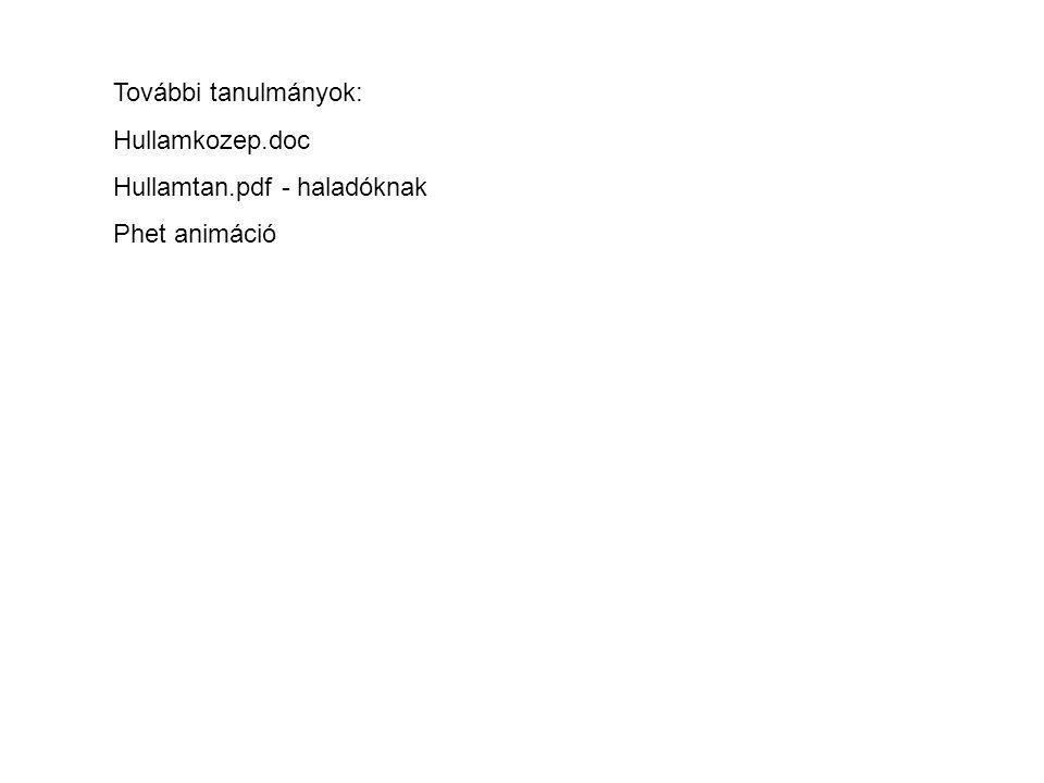 További tanulmányok: Hullamkozep.doc Hullamtan.pdf - haladóknak Phet animáció