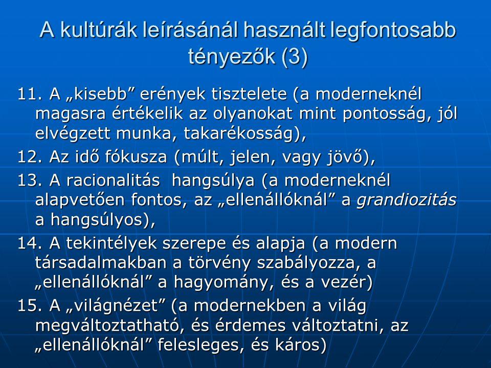A kultúrák leírásánál használt legfontosabb tényezők (3)