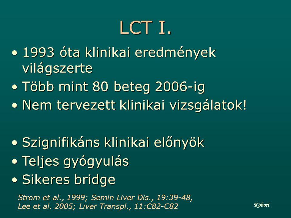 LCT I. 1993 óta klinikai eredmények világszerte