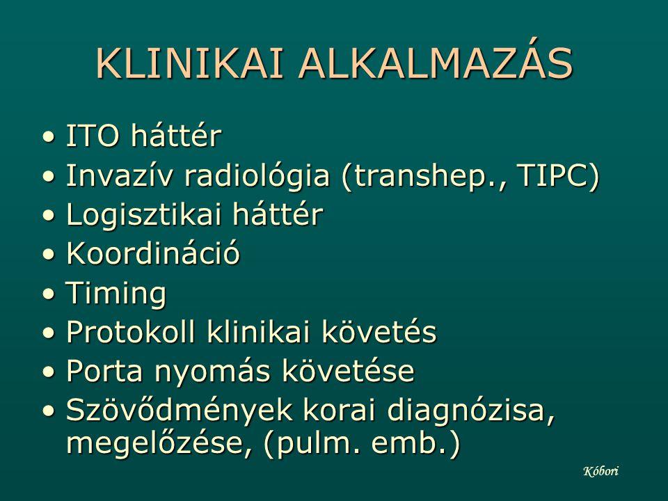 KLINIKAI ALKALMAZÁS ITO háttér Invazív radiológia (transhep., TIPC)
