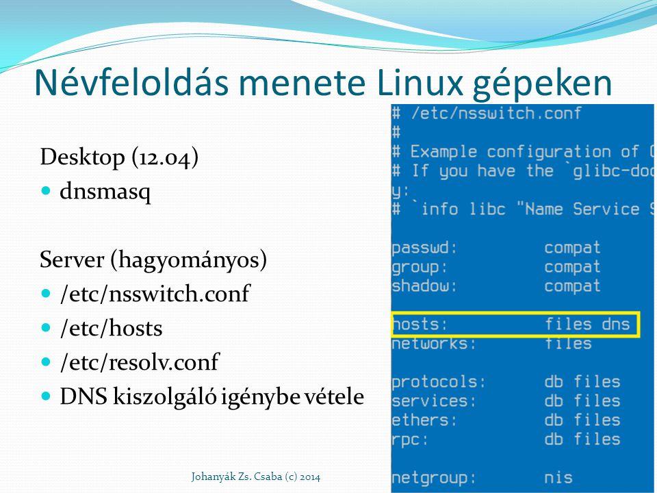 Névfeloldás menete Linux gépeken