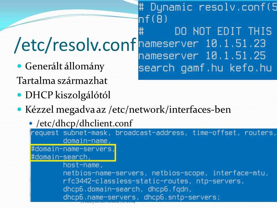 /etc/resolv.conf Generált állomány Tartalma származhat