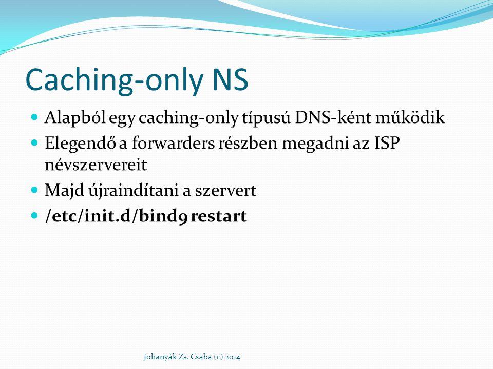 Caching-only NS Alapból egy caching-only típusú DNS-ként működik