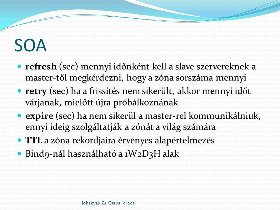 SOA refresh (sec) mennyi időnként kell a slave szervereknek a master-től megkérdezni, hogy a zóna sorszáma mennyi.