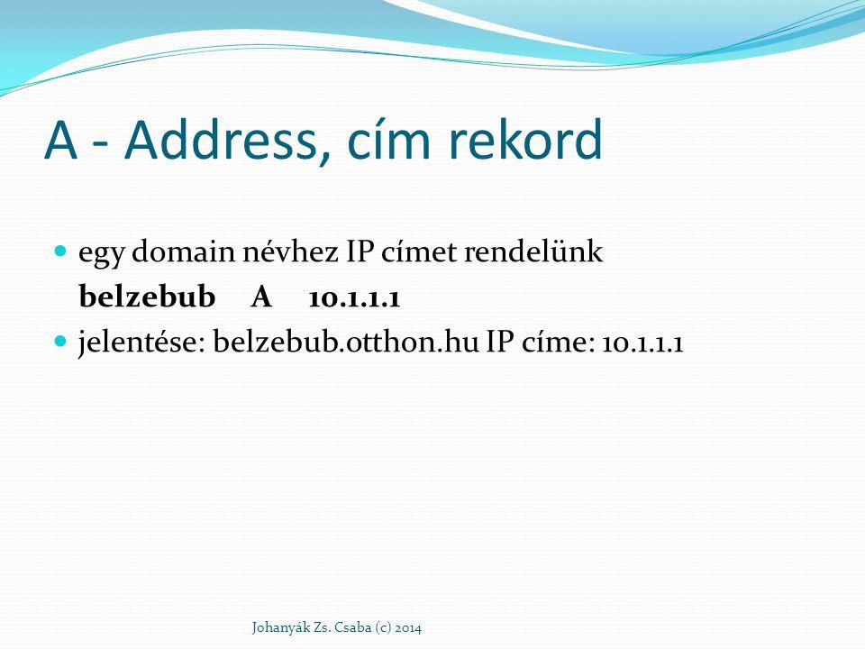 A - Address, cím rekord egy domain névhez IP címet rendelünk