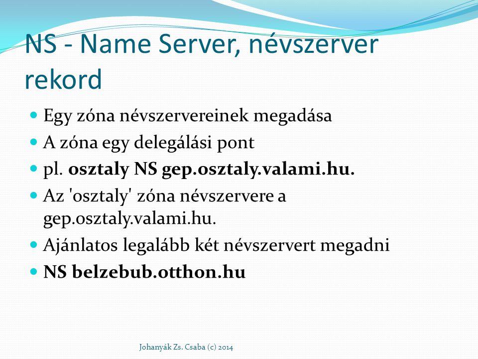 NS - Name Server, névszerver rekord