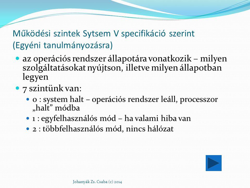 Működési szintek Sytsem V specifikáció szerint (Egyéni tanulmányozásra)