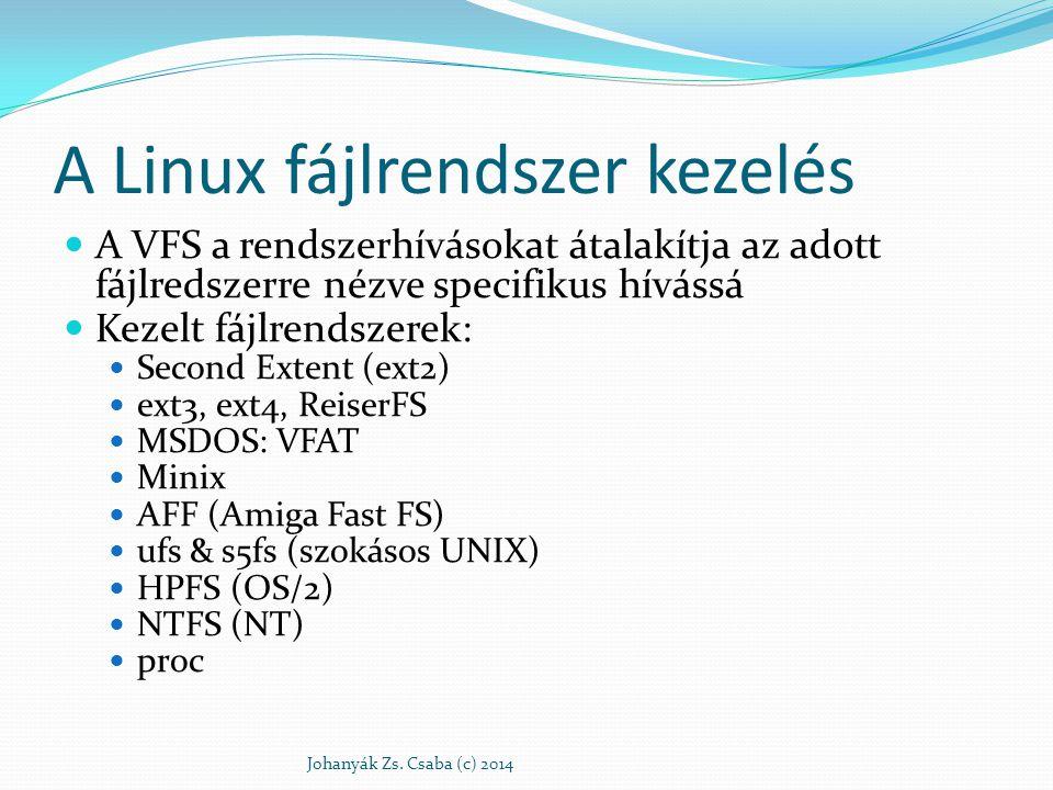A Linux fájlrendszer kezelés