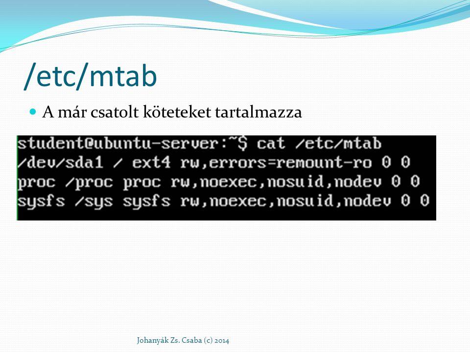 /etc/mtab A már csatolt köteteket tartalmazza